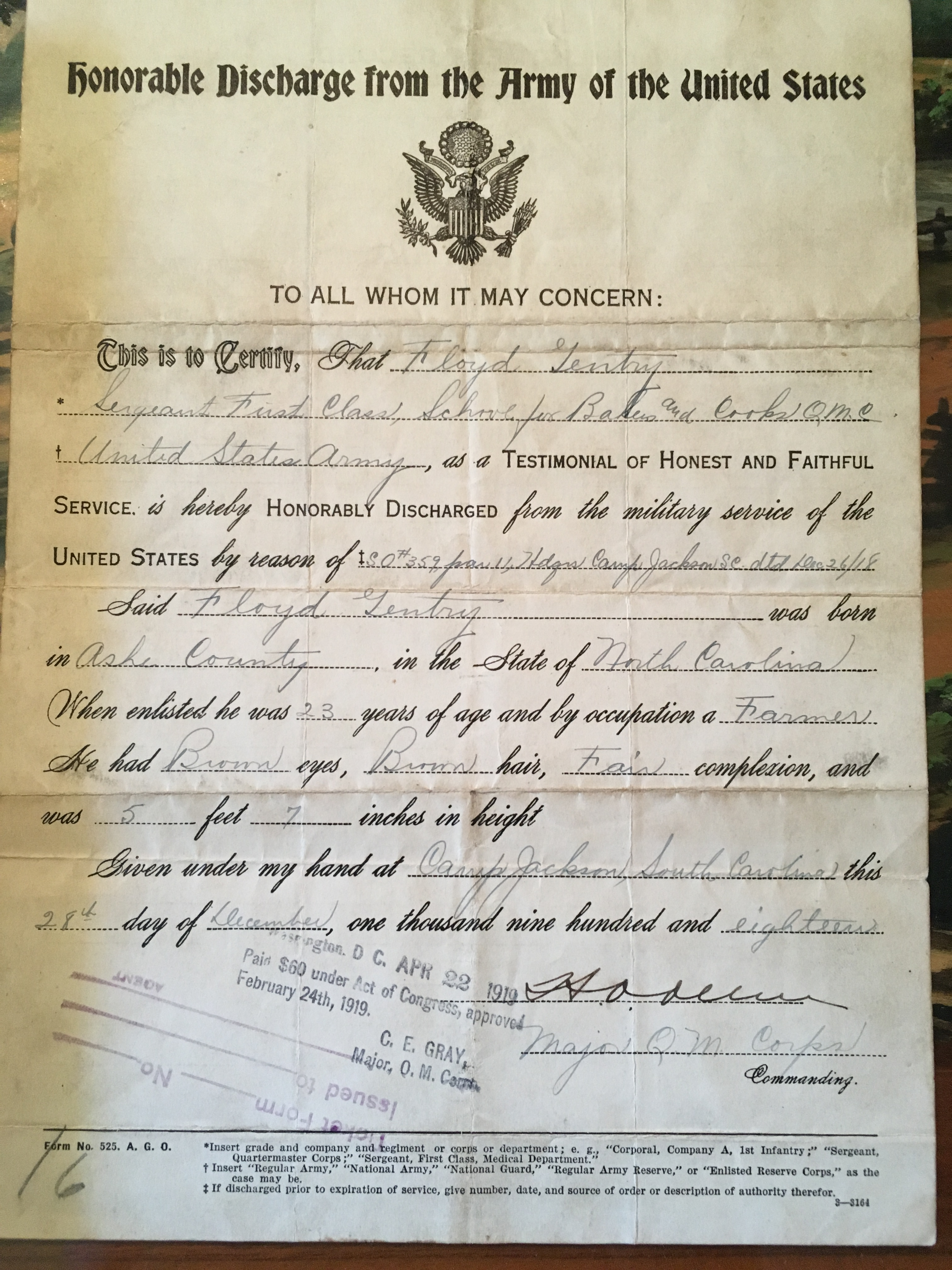 Floyd Gentry's Honorable Discharge papers